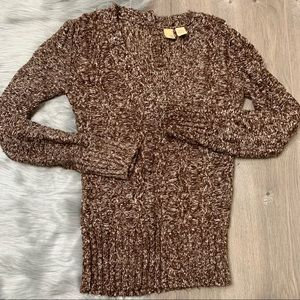 BKE | Brown V Neck Knit Sweater W/ Back Buttons M